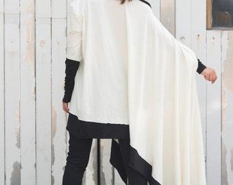 Asymmetric White Blouse / Cotton White Shirt / Oversize Top / Monochrome Asymmetric Shirt / White blouse / Long White Tunic