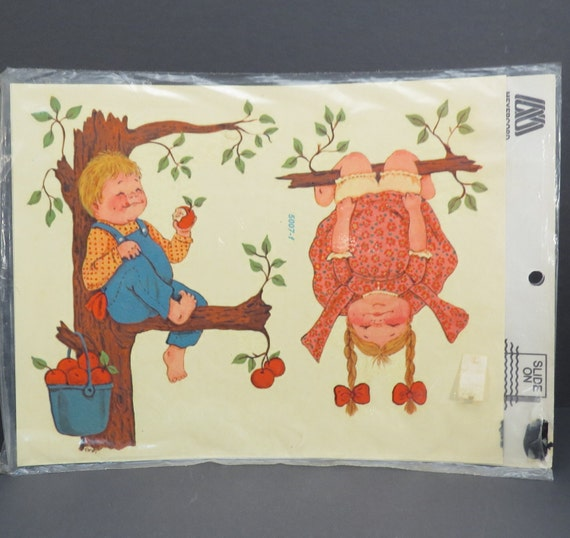 Apple tree kids vintage decalart 1970s meyercord transfer for Telephone mural 1970