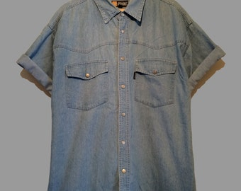 Vintage Short Sleeve Denim Shirt (XL) Broadway industries