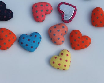 Heart dot fabric covered flatbacks, cute heart embelishments/cabashons, scrapbooking, cardmaking supplies, lot of 20