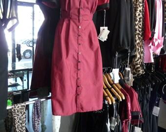 Wicked Sister // Crimson Shirt Dress Rockabilly Shirtwaist Dress Psychobilly Shirtdress Diner Style Flared Skirt Button Down Dress Pin Up
