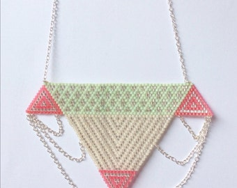 Handmade necklace (mint green, silver and pink) and silver chains