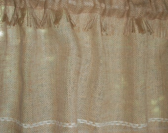 Rustic chic Fringed Burlap cafe curtain panels set of two or one. In natural burlap Hand embroidery, Custom sizes & Colors of embroidery