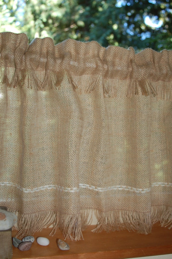 Rustic chic Fringed Burlap cafe curtain panels set of two or one. In ...