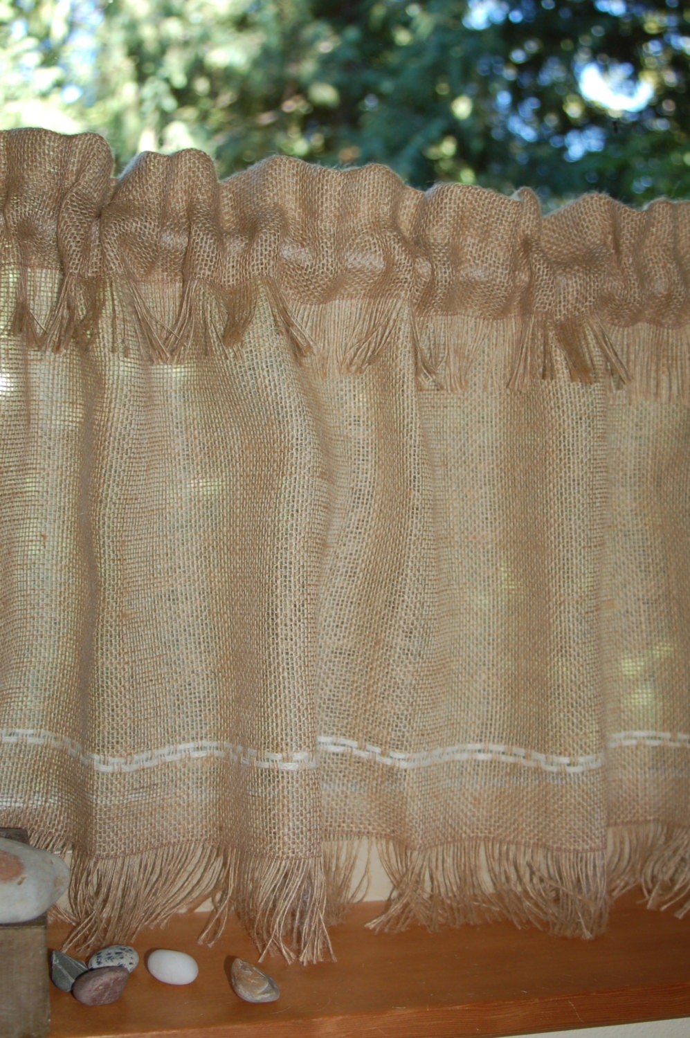 Rustic Chic Fringed Burlap Cafe Curtain Panels Set Of Two Or