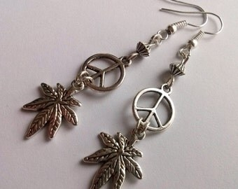 Silver Cannabis Earrings , Leaf Earrings , Peace Sign Earrings , Peace Earrings , CND Earrings , Hippie Jewellery , Handmade Jewelry , Gift