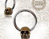 """Pair of 14g 1/2"""" inch BCR Ornate Antiqued Skull Hoops Brass Earrings Nipple Rings Earrings (6mm skulls) Piercing"""