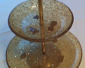 Lucite Two Tiered Serving Tray with Fruit Inlays and Glittery Stars Unique and Retro
