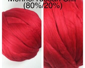 Red Merino Silk Roving / Dyed Merino Silk Top 80/20 / Dyed Merino Tussah Scarlet / 2oz 4oz 8oz