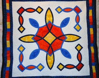 SALE!!! Celtic Stained Glass Quilt Art Quilted Wall Hanging