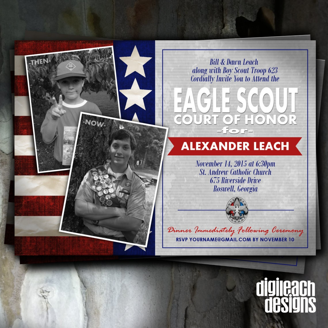 Eagle Scout Court of Honor Invitation: Flag Then and Now