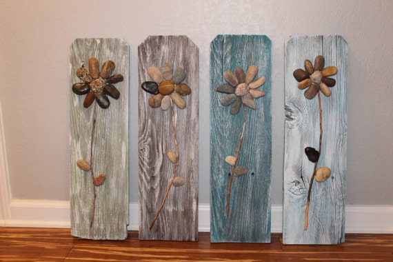 Items similar to Reclaimed Wood Sign,3D Rock Flowers on