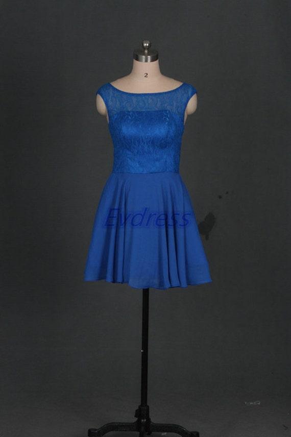 Short royal blue chiffon bridesmaid dress 2016 cheap prom for Royal blue wedding dresses cheap