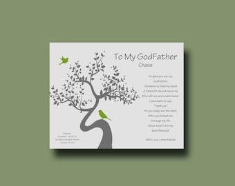 GODFATHER gift - Personalized gift for Godparents - Gift from Godchild - Personalized Godfather Print - Godfather Keepsake TREE