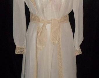 Vintage 2 Piece FLOBERT Rayon Satin Gown & Chiffon Peignoir Set 38-42 Lingerie
