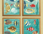 Scenic tropical sea life in mid-century modern style - set of 4 art prints by Pieter M. Dorrenboom