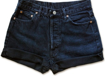 Vintage 90s Levi's Black Gray Dark Wash High Waisted Rise Cut Offs Cuffed Rolled Jean Denim Shorts – Size 28
