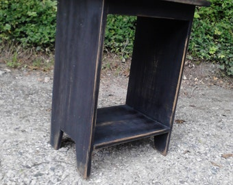 Primitive End or Side Table, Nightstand with Natural Stain Top