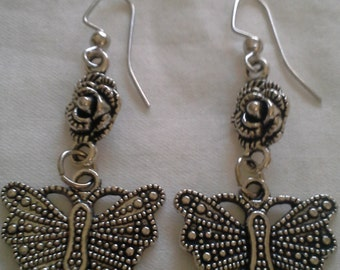 Butterfly and Rose Dangle Earrings = E114