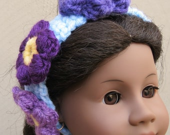 Handmade Crochet Floral Headband-Purples/Light Blue/Light Yellow - Child Size
