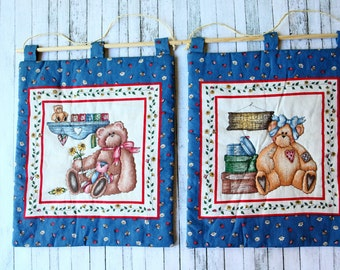 Set of 2  Quilt Wall Hanging ,  Kids room  Wall hanging decor . Bears wall hanging.Ready to ship.