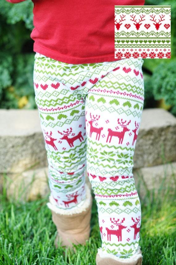 Baby Toddler Girl's Leggings Christmas Reindeer Print