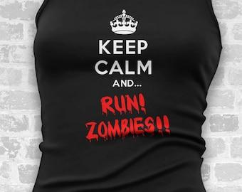Keep Calm And Run Zombies // Womens Tank Tops // Halloween Costume // Costume // Funny T Shirt // Womens Costume // Cosplay // Running Tank