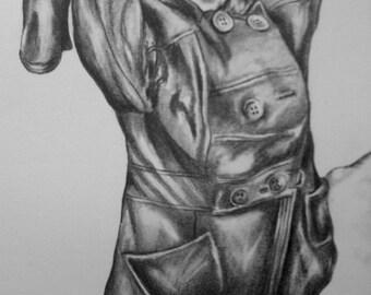 Custom Charcoal Drawing - Portrait - Full Body, Single Subject, 8x10, 9x12