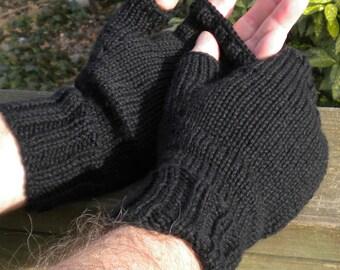 Fingerless Gloves Men's Fingerless Gloves Hand Knit Black Merino Wool Hand Warmers Fingerless Gloves Men's Merino Wool Fingerless Gloves