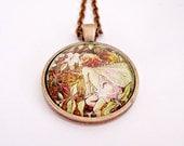 fairy necklace woodland fairies fairy art pendant fairy jewelry pendant fairy copper necklace fairy glass necklace glass dome jewelry barker