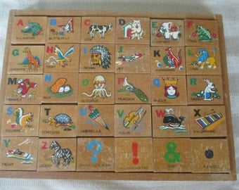 Vintage 1960's Wooden Alphabet Picture Blocks Toy Set  in Tray