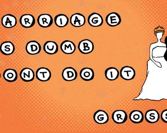 Sticker: Cartoon Marriage Is Dumb. Don't Do It. Gross. Laptop Stickers, Cool Stickers, Cute Stickers, Party Favors, Lovewins