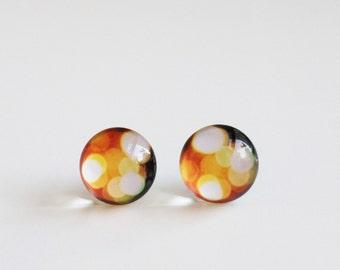 12mm Golden Bubble Stud Earrings. Surgical Steel Earrings Post. Christmas Night, Christmas Light, Yellow Post Earrings, Medium Size