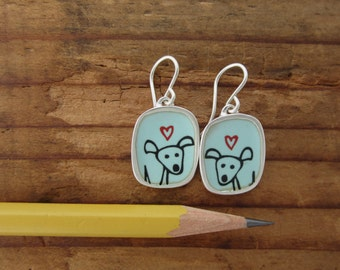 Happy Dog Earrings - Sterling Silver and Vitreous Enamel Dog Earrings