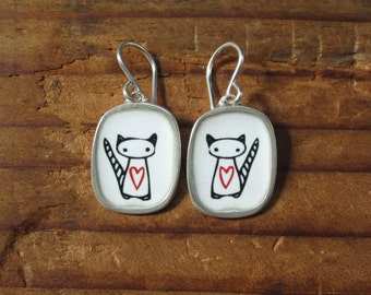 Cat Earrings  -  Sterling Silver and Vitreous Enamel Space Cat Earrings