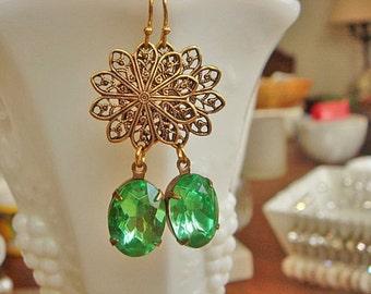 Vintage Earrings, Green Earrings, Crystal Rhinestone earrings, Dangle Earrings