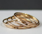Thin 14k Gold Ring Set of 3, 14k Gold Hammered Thin Stacking Rings