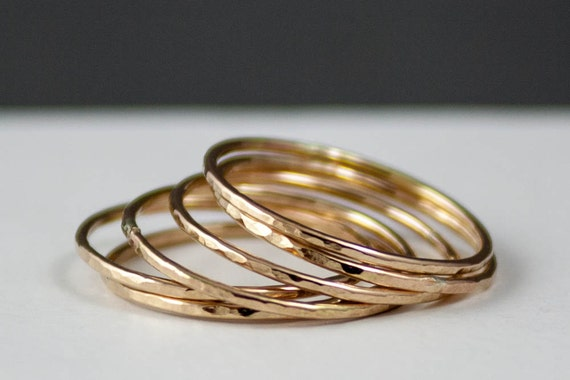 thin 14k gold ring set of 3 14k gold hammered thin by