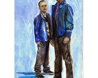 Breaking Bad Walt and Jesse Watercolor Painting 4x6, 5x7, or 8x10 Art Print