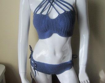 Crochet bikini set, lace up bikini,  CrissCross Halter Bandeau, crochet swimwear, crochet bikinis, swimwear, bathingsuits, beachwear