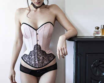 Evelyn overbust corset - blush pink corsetry with black french lace overlay, sweetheart Victorian corset, over bust historical corsets