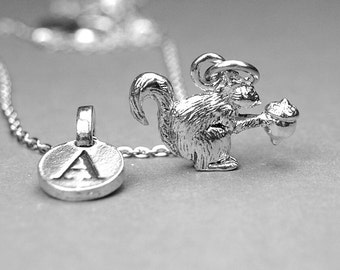 Squirrel Necklace, 3D squirrel charm, silver plated pewter, initial necklace, initial hand stamped, personalized, monogram