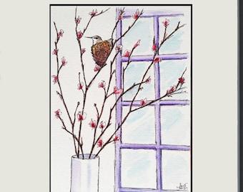 Hummingbird Hideaway - Whimsical Watercolor Painting - Childrens Room - hummingbird nest in cherry tree - bird art - 5x7