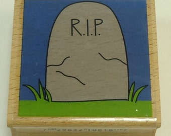 RIP Tombstone Halloween Wood Mounted Rubber Stamp By Studio G