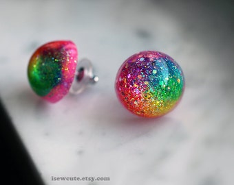 Earrings, Rainbow Resin Post Stud Round Orb Glitter Dome Intense ROYGBIV Colurful Earrings Handcrafted Modern Resin Jewelry by isewcute