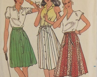 Vintage 70's Sewing Pattern, Misses' A-line Skirt, Size 12