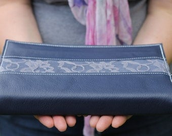 Navy Blue Leather Bible Cover with Grey Lace Inlay- Custom sized to fit your bible perfectly