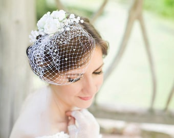 mini birdcage veil, sparkly Swarovski crystals, small birdcage, white wedding veil, wedge veil, small bridal veil, bird cage -STARLIGHT
