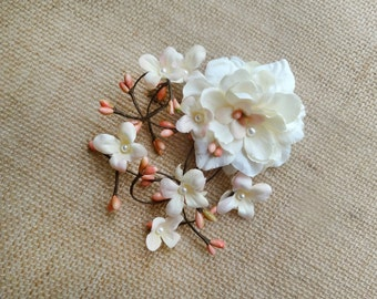 hair flower ivory, peach pink hair clip, floral hair clips, hair clips for women, cream hair flower, rustic wedding headpiece, hair flower