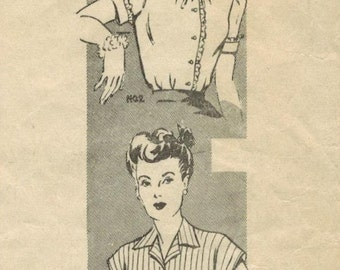 1940s Mail Order 8403 Vintage Sewing Pattern Misses Blouses Size 12 Bust 30